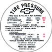 1968 CAMARO Z/28 E70 X 15 TIRE PRESSURE DECAL
