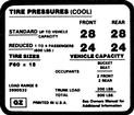 1971-73 Camaro Z28 Tire Pressure Decal