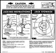 1963 FULL SIZE CHEVROLET CONVERTIBLE JACK STOWAGE AND JACKING INSTRUCTIONS DECAL