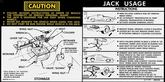 1978-79 Camaro Jacking Instructions Decal