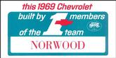 1969 Norwood #1 Team Window Card