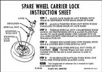 1965-66  Full Size Chevrolet Spare Wheel Lock Instruction Card