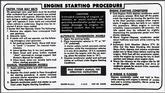 1974-76 Starting Instruction Decal