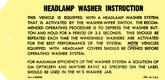 1967-69 HEADLIGHT WASHER INSTRUCTION TAG