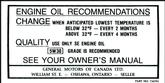 1968-73 GM Canadian Oil Change Decal (OE#734791)