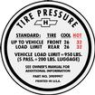1967 Camaro SS Tire Pressure Decal