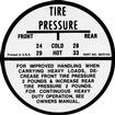 1955-62 Glove Box Tire Pressure Decal