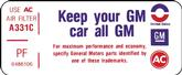 "1973 350-4V Air Cleaner ""Keep Your GM All GM"" Decal (Code ""PF"")"