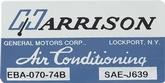 1974 Harrison AC Evaporator Box Decal