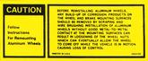 1979-81 Aluminum Wheel Instruction Decal