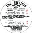 1968 CAMARO SS F70X14 TIRE PRESSURE DECAL