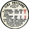 1967 TIRE PRESSURE DECAL