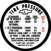 1967 Chevy II / Nova Super Sport Tire Pressure Decal (Before 1-20-67)