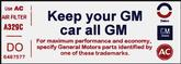"1973 Camaro Z28 Air Cleaner ""Keep Your GM All GM"" Decal (Code ""DO"")"