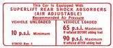 1971-74 Superlift Air Shock Instruction Decal