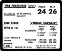 1971-72 Impala / Full Size H78 X 15 Tire Pressure Decal (Door)