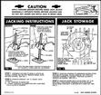 1963 FULL SIZE CHEVROLET SEDAN / HARDTOP JACK STOWAGE AND JACKING INSTRUCTIONS DECAL