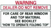 1964-66 Convertible Top Warning Decal