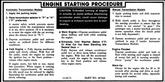 1972-73 ENGINE START PROCEDURE DECAL