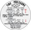 1968 E70x14 TIRE PRESSURE DECAL
