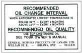 1968-71 Canadian Oil Change Decal