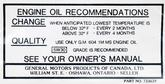 1966-67 Canadian Oil Change Decal