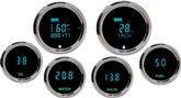Dakota Digital Universal Odyssey Series II Digital Gauge Set with Teal Display and Chrome Bezels