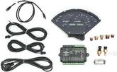 1955-56 Chevy Dakota Digital VHX Analog Gauge Set with Carbon Fiber Look Face and Blue Illumination