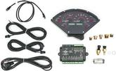 1955-56 Chevy Dakota Digital VHX Analog Gauge Set with Carbon Fiber Look Face and Red Illumination