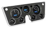 1967-72 GM Pickup VHX Series Gauge Set with Black Alloy Face and Blue Backlighting