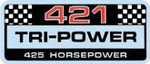 PONTIAC 421 TRI POWER VALVE COVER DECAL