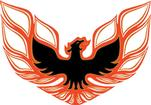 73-78 BIRD REAR SPOILER / 1973 FRONT BUMPER DECAL (ORANGE/DARK ORANGE/BLACK)