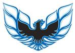 "1973-78 Firebird Formula Light Blue / Dark Blue / Black 7.2"" Rear Spoiler Bird Crest Decal"