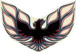 "1973-78 Firebird Formula Charcoal / Red / Black 7.2"" Rear Spoiler Bird Crest Decal"