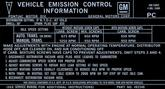 70 400 4BBL EMISSION DECAL FIREBIRD