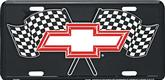 Bow Tie Logo with Crossed Checkered Flags License Plate
