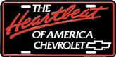 RED / WHITE / BLACK HEARTBEAT OF AMERICA CHEVROLET AND BOW TIE  LICENSE PLATE