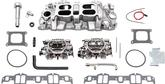 "Chevrolet 348/409 ""W"" Large port Performer RPM Dual Quad Satin Finish Manifold/Carburetor Set"