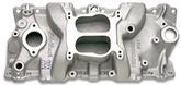 1955-86 Chevrolet Small Block without EGR Edelbrock Performer Natural Finish 4 bbl Intake Manifold