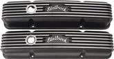 CHEVROLET SMALL BLOCK CLASSIC BLACK POWDER COATED ALUMINUM FINNED VALVE COVERS WITH OIL FILL HOLE