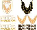 1987-90 Trans Am GTA Emblem Set - White with Gold Accents