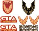 1987-90 Trans Am GTA Emblem Set - Bright Red with Gold Accents