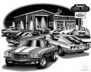 "Thom SanSoucie ""Flash Back Prints"" 11"" X 17"" 1970-1/2 Camaro Z28 and 1972 Camaro SS/RS Print"