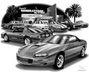 "Thom SanSoucie ""Flash Back Prints"" 11"" X 17"" 1987 Camaro IROC Z28 and 2000 Camaro SS Print"