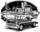 1956 Black And White print (56 Sedan AT A Roadside Grill)