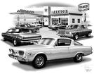 1966-69 PLYMOUTH BARRACUDA FLASH BACK PRINT (1966 MODEL FEATURED)