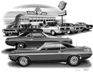 1970 PLYMOUTH 'CUDA FLASH BACK PRINT (1970 CUDA AAR & 440 FEATURED)