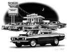 1966-69 Plymouth Barracuda Flash Back Print (1969 Model Featured)