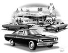 1970 PLYMOUTH ROAD RUNNER FLASH BACK PRINT (1970 HEMI MODEL FEATURED)
