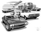 1970 DODGE CHALLENGER HARDTOP & CONVERTIBLE AT MOBIL STATION FLASH BACK PRINT